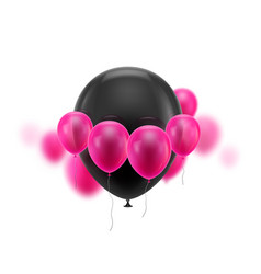Black ball surrounded small pink vector