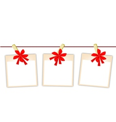 Blank Photos with Red Ribbon vector image