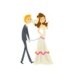 Bride leading her henpecked groom on a leash vector
