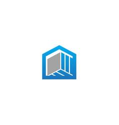 building shape line company logo vector image