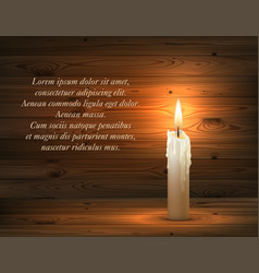 Burning candle on dark wooden background vector