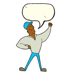 Cartoon man striking heroic pose with speech vector