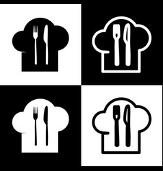 chef hat and spoon fork knife sign vector image