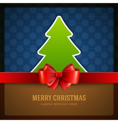 Christmas green tree and bow background vector image