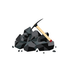 Coal mine icon with black mineral rock lump and vector