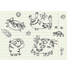 Collection cartoon doodle monsters 2 vector