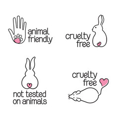 Cruelty free icons set vector