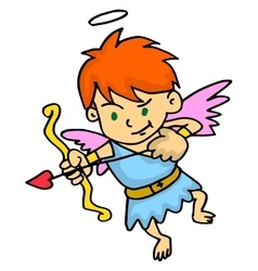 Cupid aiming at something cartoon vector