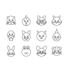 cute animals head cartoon icons set line style vector image