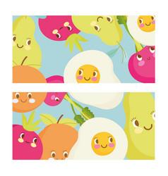 Cute food pattern design fried eggs avocado fruit vector
