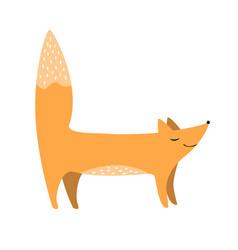 cute fox flat cartoon forest vector image