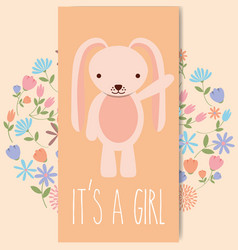 cute pink rabbit baby shower its a gril card vector image