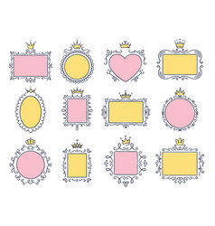 cute princess frames pink mirror frame vector image