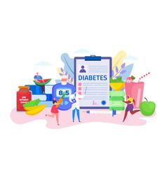 Diabetes concept cartoon flat vector