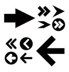 different black arrows icons set vector image