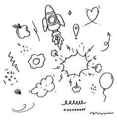 doodle set elements black on white background vector image