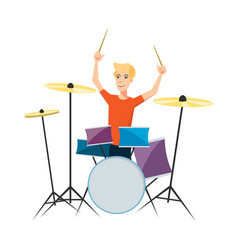 Drummer playing drums on white background vector