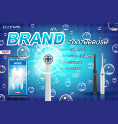 Electric toothbrush ads vibrant brush with mobile vector