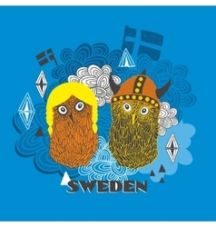 Emblem of Sweden with cute vikings vector image