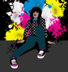 emo girl vector image vector image