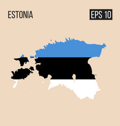 estonia map border with flag eps10 vector image