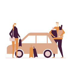 family after shopping - flat design style colorful vector image