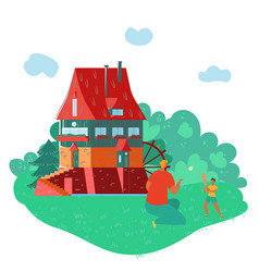 father and daughter playing near country house in vector image