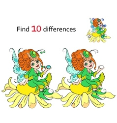 Find 10 differences Beautiful fairy vector image