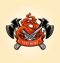 firefighter axe fire logo vector image
