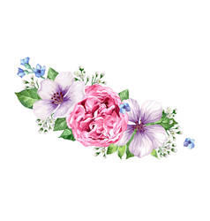 flower frame in watercolor style isolated on white vector image