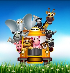 funny animal cartoon on yellow car vector image