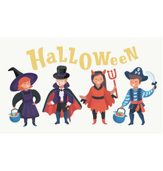 funny kids in carnival costumes vector image