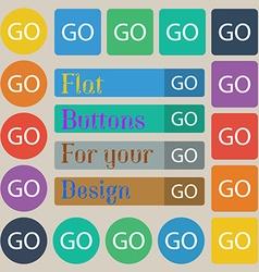GO sign icon Set of twenty colored flat round vector