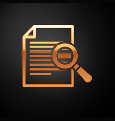 Gold document with search icon isolated on black vector
