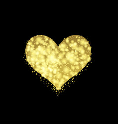 golden valentine heart vector image