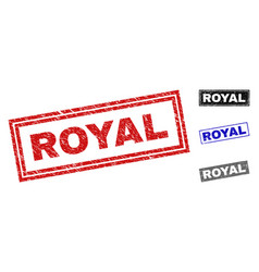 grunge royal scratched rectangle stamps vector image