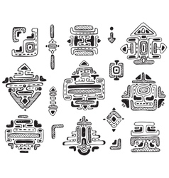 Hand drawn ornament maya set vector image