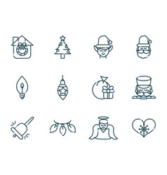 happy christmas line icons collection vector image
