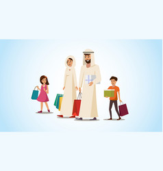 happy muslim family shopping flat concept vector image