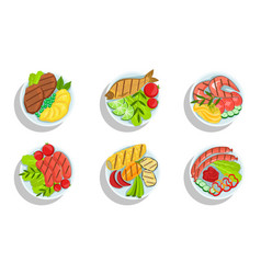 healthy dishes set top view grilled meat fish vector image