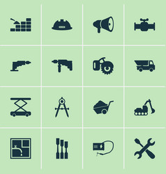industrial icons set with screwdriver with key vector image