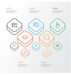 Interface outline icons set collection of edit vector