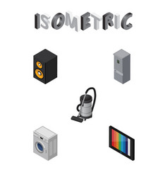 Isometric electronics set of vac television vector