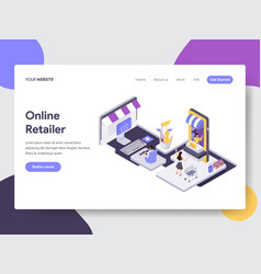 landing page template online retailer concept vector image
