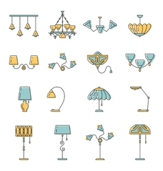 Line lamp icon set flat design vector