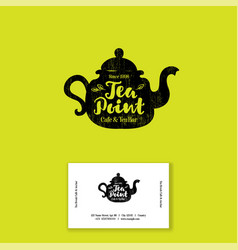Logo tea point black tea bar emblem vector