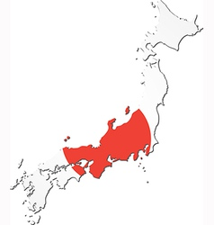 Map of Japan with national flag vector