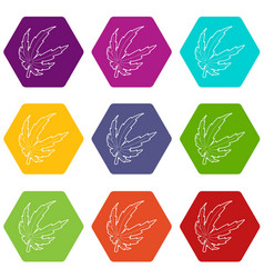 marijuana leaf icons set 9 vector image