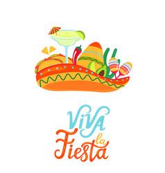 mexican sombrero margarita maracas cactus tacos vector image