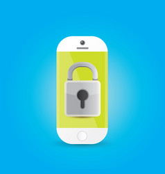 Mobile security app screen with shield and lock vector